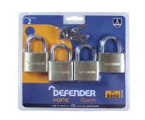 Defender Quad Pack Brass Padlock - 40mm